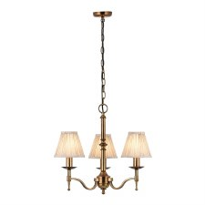 Stanford 3 Arm Chandelier Antique Brass Beige Shades