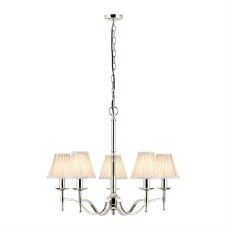 Stanford 5 Arm Chandelier Nickel Beige Shades