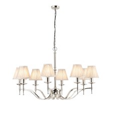 Stanford 8 Arm Chandelier Nickel Beige Shades