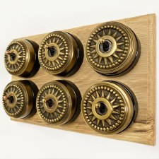 Star Round Dolly Light Switch on Wooden Base Antique Satin Brass 6 Gang
