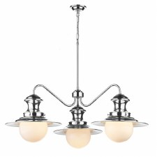David Hunt EP5350 Station 3 Arm Ceiling Pendant Light Dual Mount Polished Chrome