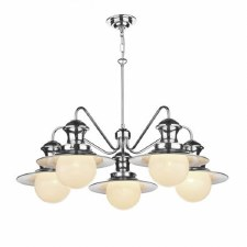 David Hunt EP5450 Station 5 Arm Ceiling Pendant Light Dual Mount Polished Chrome