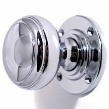 Aston Stepped Bun Door Knobs Polished Chrome 44mm