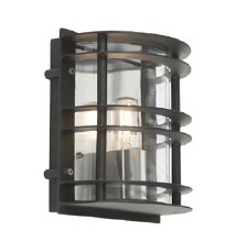 Elstead Stockholm Flush Outdoor Light Black Clear Glass