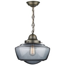 David Hunt STO0110 Stowe Pendant Antique Brass Smoked Glass