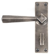 From The Anvil Straight Bathroom Door Handles Antique Pewter