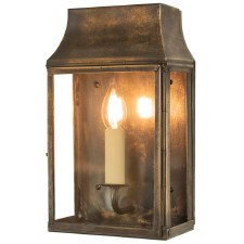 Strathmore Small Flush Outdoor Wall Lantern Light Antique Brass