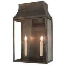 Strathmore Flush Outdoor Lantern Large Antique Brass