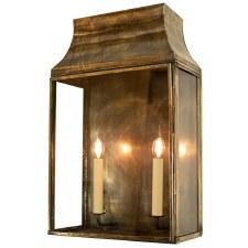 Strathmore Flush Outdoor Lantern Large Light Antique Brass