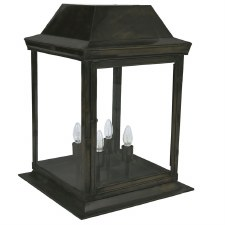 Strathmore Gate Post Lantern Large Antique Brass
