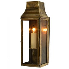 Strathmore Short Slim Flush Outdoor Wall Lantern, Light Antique Brass