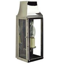 Strathmore Short Slim Flush Outdoor Wall Lantern Polished Nickel