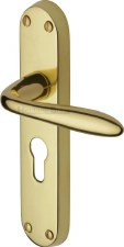 Heritage Sutton Euro Lock Door Handles V6057 Polished Brass Lacquered