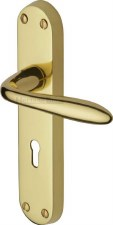 Heritage Sutton Door Lock Handles V6052 Polished Brass Lacquered