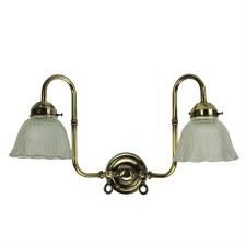 """Swan Twin Neck Wall Light (2.25"""" Gallery) Light Antique Brass"""
