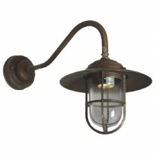 Como Swan Neck Outdoor Wall Light Lantern Antique Copper