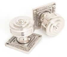 From The Anvil Tewkesbury Square Rose Mortice Knobs Polished Nickel
