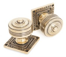 From The Anvil Tewkesbury Square Rose Mortice Knobs Aged Brass