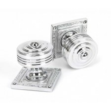 From The Anvil Tewkesbury Square Rose Mortice Knobs Polished Chrome