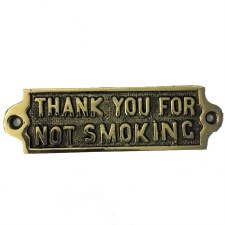 Thank you for Not Smoking sign Polished Brass