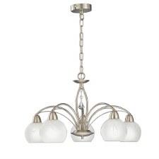 Franklite Thea Ceiling Chandelier  Light 5 Lights Satin Nickel