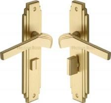 Heritage Tiffany Bathroom Door Handles TIF5230 Satin Brass Lacquered