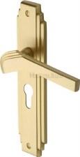 Heritage Tiffany Euro Lock Door Handles TIF5248 Satin Brass Lacquered