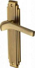 Heritage Tiffany Latch Door Handles TIF5210 Antique Brass Lacquered