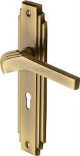 Heritage Tiffany Door Lock Handles TIF5200 Antique Brass Lacquered