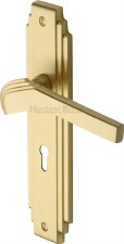 Heritage Tiffany Door Lock Handles TIF5200 Satin Brass Lacquered