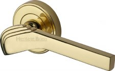 Heritage Tiffany Round Rose Door Handles TIF1926 Polished Brass Lacq