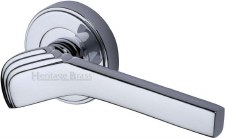 Heritage Tiffany Round Rose Door Handles TIF1926 Polished Chrome