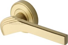 Heritage Tiffany Round Rose Door Handles TIF1926 Satin Brass Lacq
