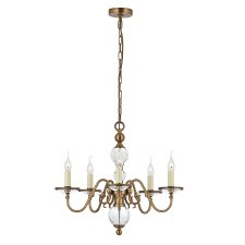 Interiors 1900 Tilburg 5 Light Chandelier Antique Brass