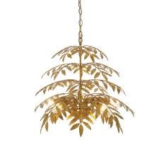 Tolpuddle 5 Light Leaf Pendant Distressed Gold
