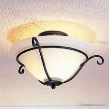 Elstead Torchiere Flush Ceiling Light Black/Gold