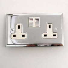 Mode Switched Socket 2 Gang Polished Chrome & White Trim