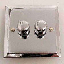 Mode Dimmer Switch 2 Gang Polished Chrome
