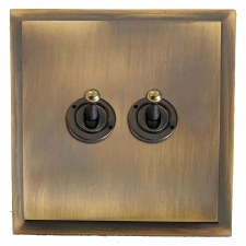Mode Dolly Switch 2 Gang Antique Brass Lacquered