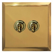 Mode Dolly Switch 2 Gang Polished Brass Unlacquered