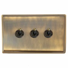Mode Dolly Switch 3 Gang Antique Brass Lacquered