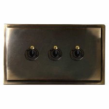 Mode Dolly Switch 3 Gang Dark Antique Relief