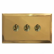 Mode Dolly Switch 3 Gang Polished Brass Lacquered