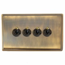 Mode Dolly Switch 4 Gang Antique Brass Lacquered