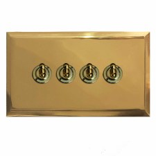 Mode Dolly Switch 4 Gang Polished Brass Lacquered