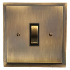 Mode Rocker Light Switch 1 Gang Antique Brass Lacquered