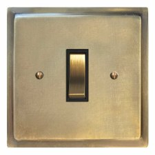 Mode Rocker Light Switch 1 Gang Antique Satin Brass