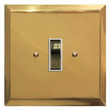 Mode Rocker Light Switch 1 Gang Polished Brass Lacquered & White Trim