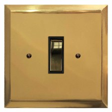 Mode Rocker Light Switch 1 Gang Polished Brass Lacquered & Black Trim