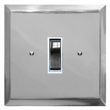 Mode Rocker Light Switch 1 Gang Polished Chrome & White Trim